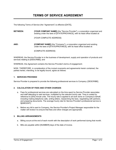 terms of service agreement template sample form biztree com