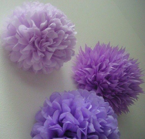 Lavender Love 3 tissue paper poms birthday nursery