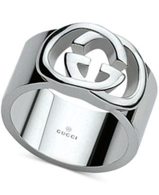 Gucci Women's Sterling Silver Interlocked GG Motif Wide Ring YBC190482001018