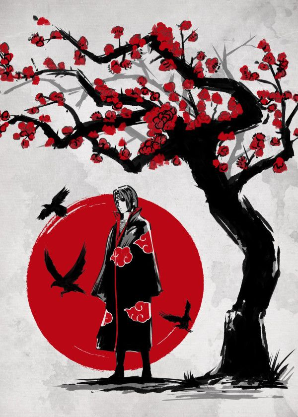 Displate Poster Ninja Under The Sun Naruto Ninja Samurai Japan Uchiha Itachi Nature Sun Anime Manga Itachi Uchiha Art Itachi Uchiha Itachi