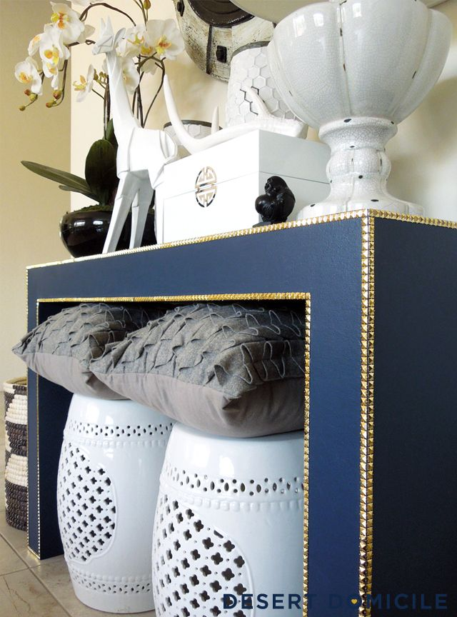Exceptional DIY Console Table Makeover U2013 Pyramid Stud Trim Is A Great Alternative To  Nailhead Trim!