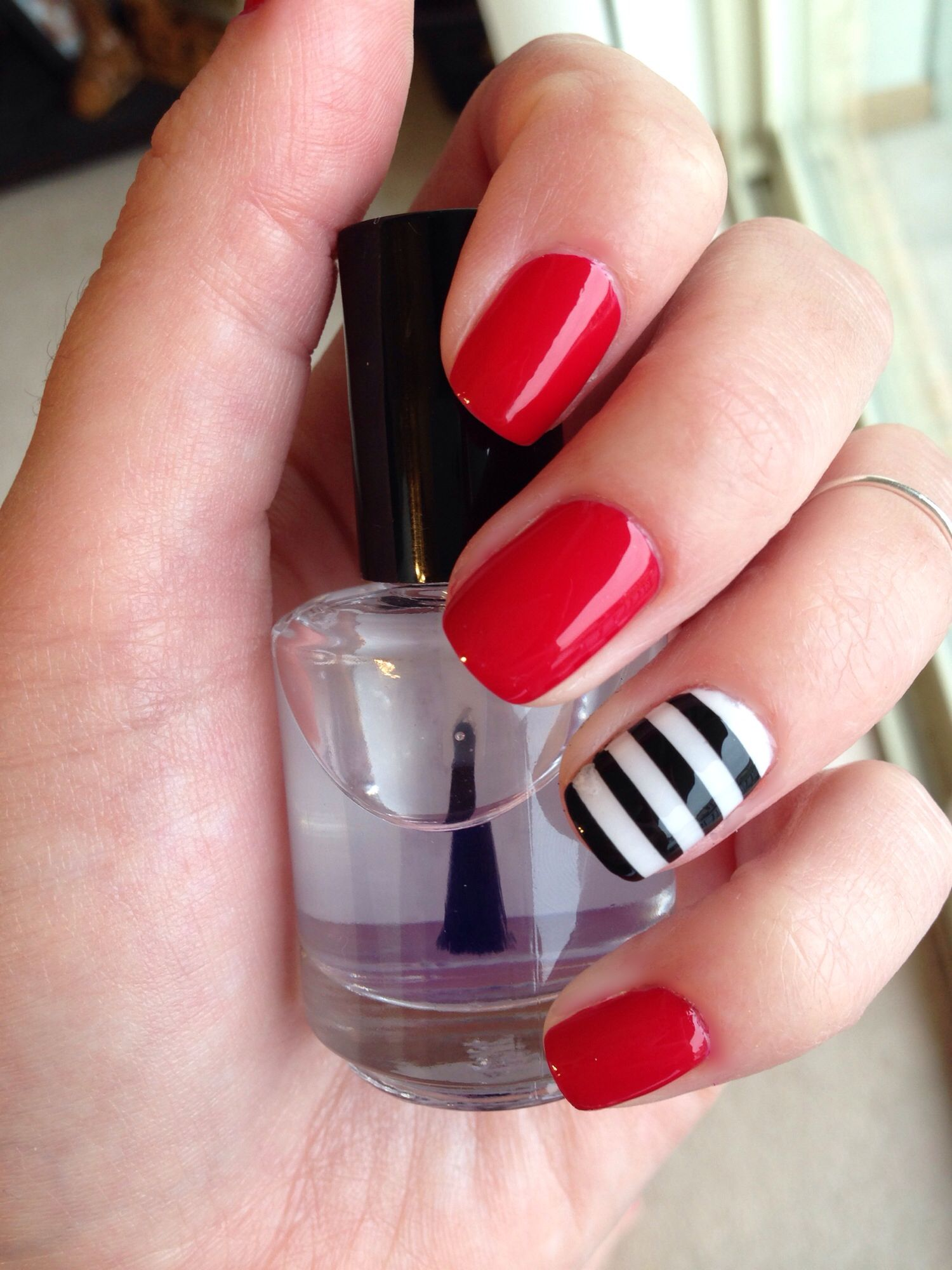Nautical Red nails with black and white stripe accent nail #nautical ...