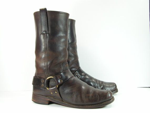frye harness boots men's 10.5 D M brown by vintagecowboyboots