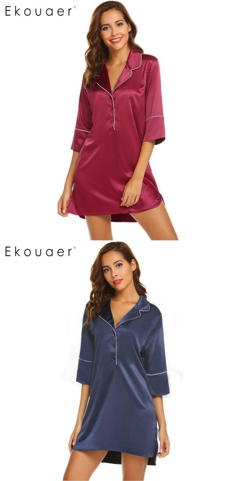 9c18eb6a579b Sleep casual solid long sleeve women shirt nightgowns nightwear  polyester