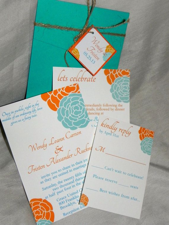 Pocket Fold Orange And Turquoise Wedding By Mysentimentsinvites 75 00