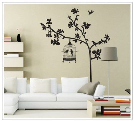 Tall Black Tree With Leaves Birdcage And Birds Wall Decal Home