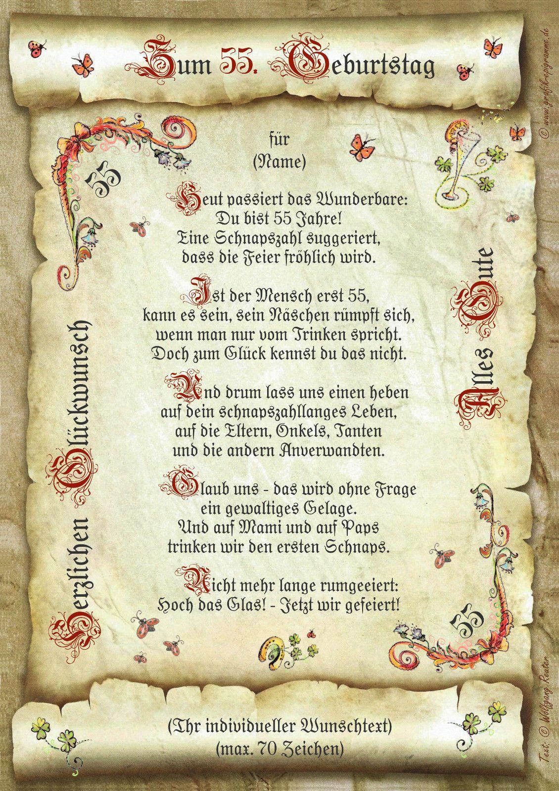 40 50 55 60 65 66 70 75 80 90 Geburtstag Geschenk Urkunde Mit