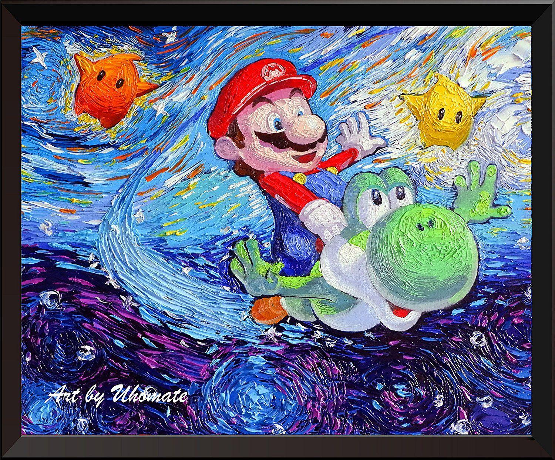 Super Mario Bros, unter dem Meer Wand Decor Vincent van Gogh Starry ...