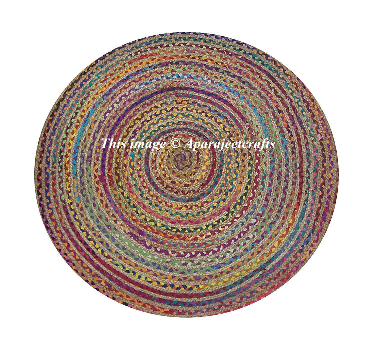 1 Hand Braided Bohemian Colorful Cotton Jute Area Rug Round Rug Multi Color Home Decor Rugs Beautiful Natural Jute Jute Area Rugs Braided Rugs Braided Jute Rug