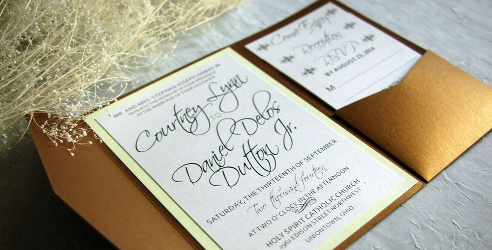 information on wedding invitation examples%0A Gold and mint wedding invitation  Love how the gold sparkles and script  names add a
