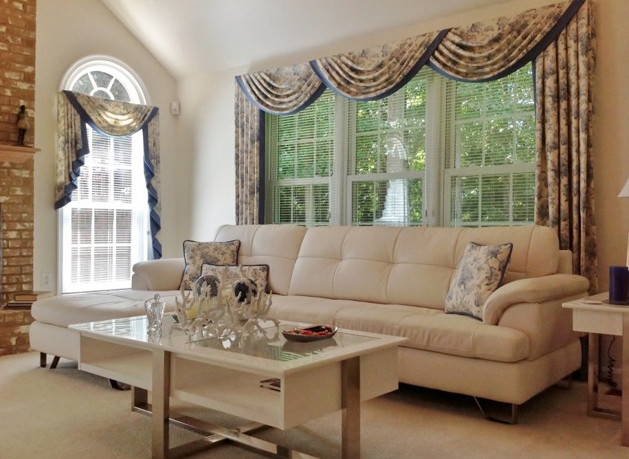 Nice Curtain for Family Room | Lovely White Living Room Design ...