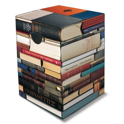 Tabouret en carton Book motif livres