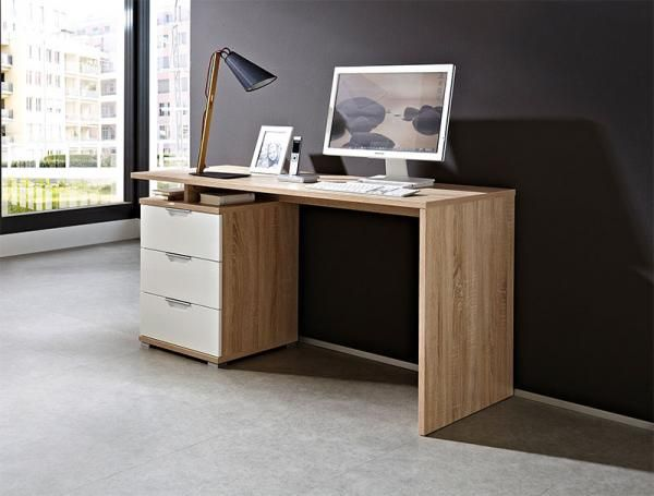 Germania 3 Drawer Desk In High Gloss White And Light Oak In 2019 Desk With Drawers Modern Home Office Furniture Desk