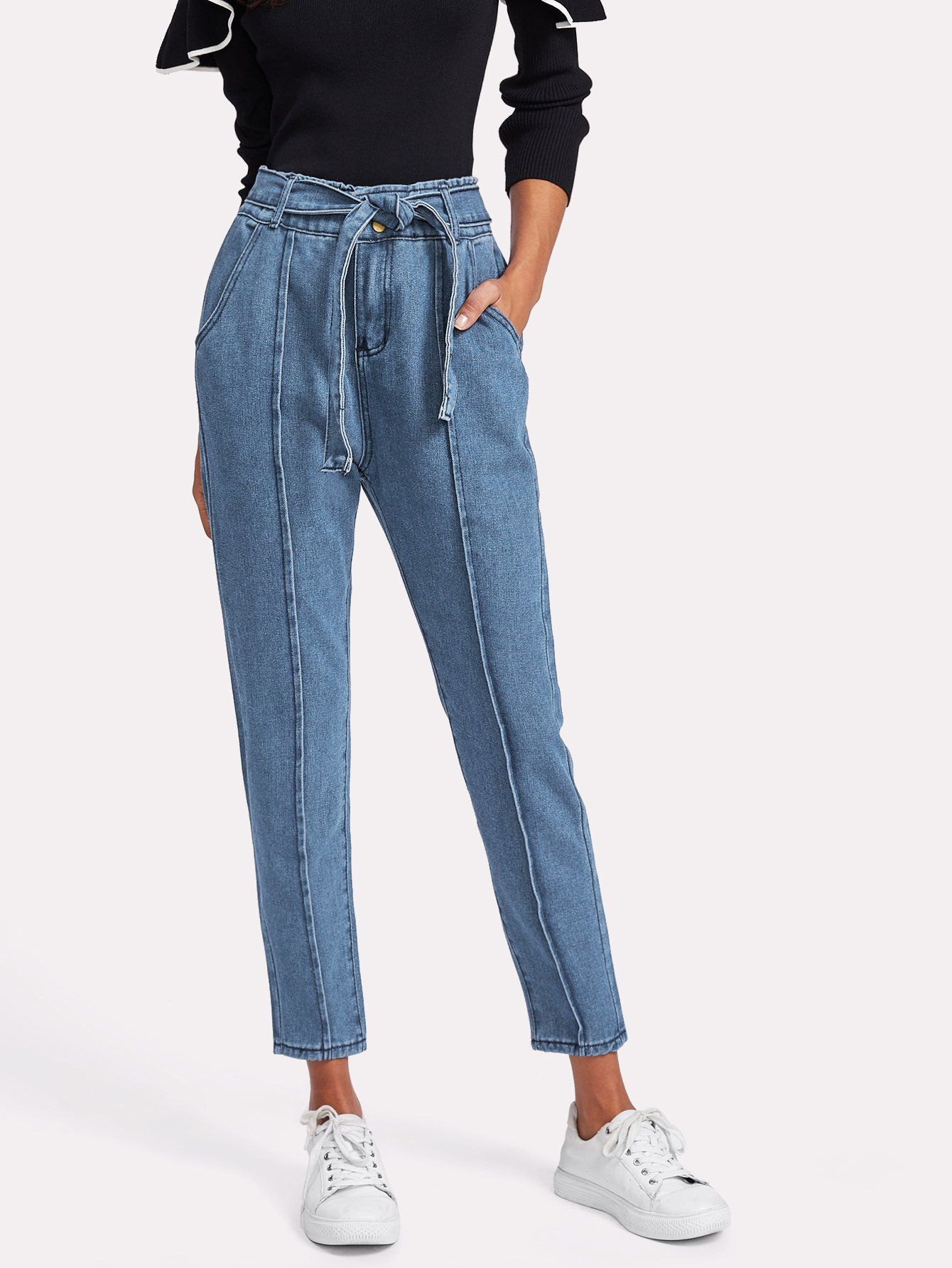 213ea8b8f9de Seam Detail Self Tie Jeans   Crafts and Stuff   Jeans, Denim, Denim ...