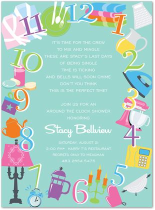 Around the clock bridal shower invite Bridal Shower ideas