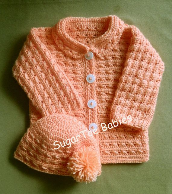 Baby Girl or Boy Sweater Jacket and Hat PDF Crochet Pattern 24 ...