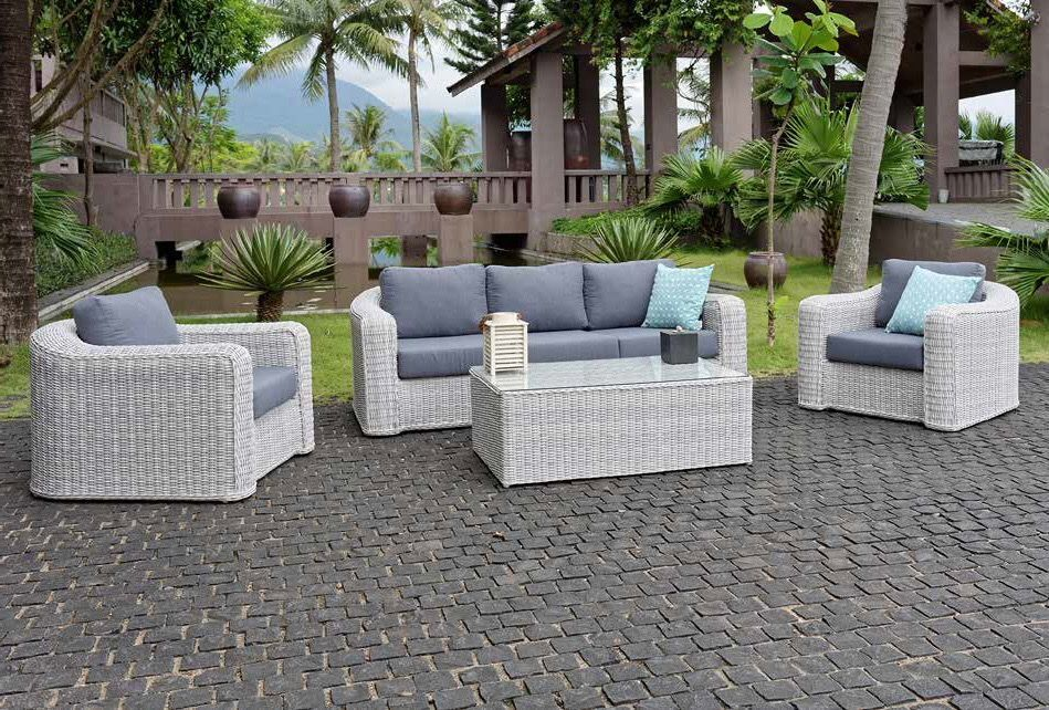 All Weather Rattan Furniture White Garden Sofa Outside Outdoor Woven Patio Luxury