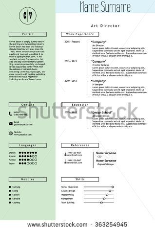 stock-vector-vector-creative-resume-template-minimalistic-green - stock resume