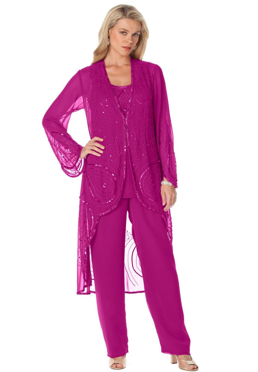 Fuchsia Mother Of Bride Pant Suit 3 Pieces Chiffon Formal Mother\'s ...