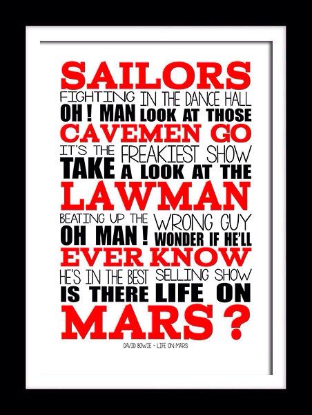David Bowie Life On Mars Song Lyric Print Song Lyrics Art Bowie Life On Mars