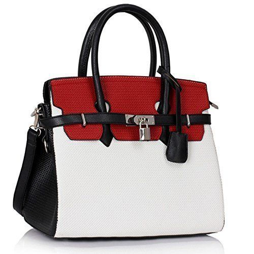 Womens Designer Faux Leather Plain and Ostrich PadLock Tote ...