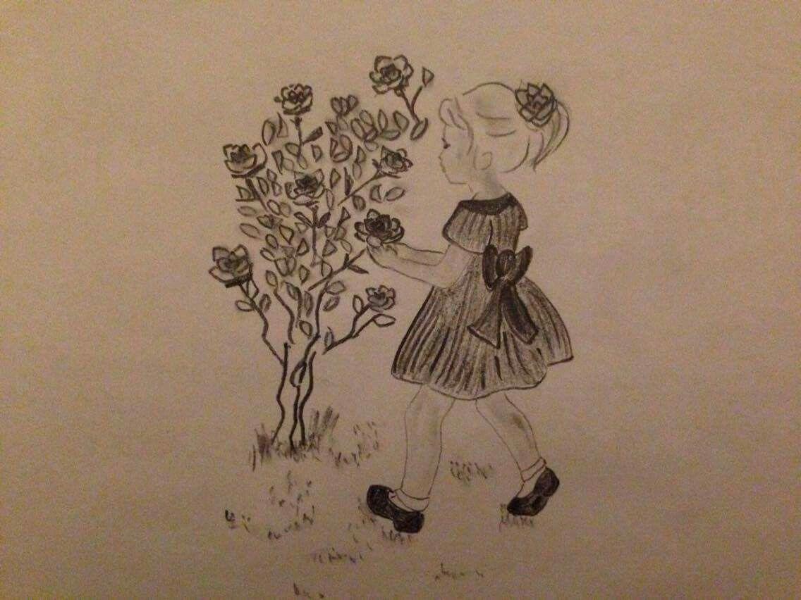 Little girl in a Rosa garden drawing | Laure\'s drawings | Pinterest ...
