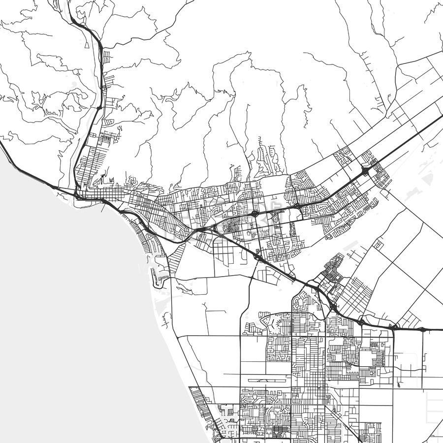 San Buenaventura Ventura California Area Map Light