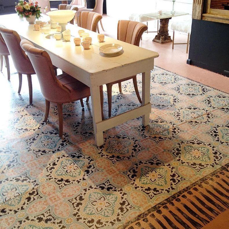 Painted Concrete Floors Diy: Anatolia Tile Stencil
