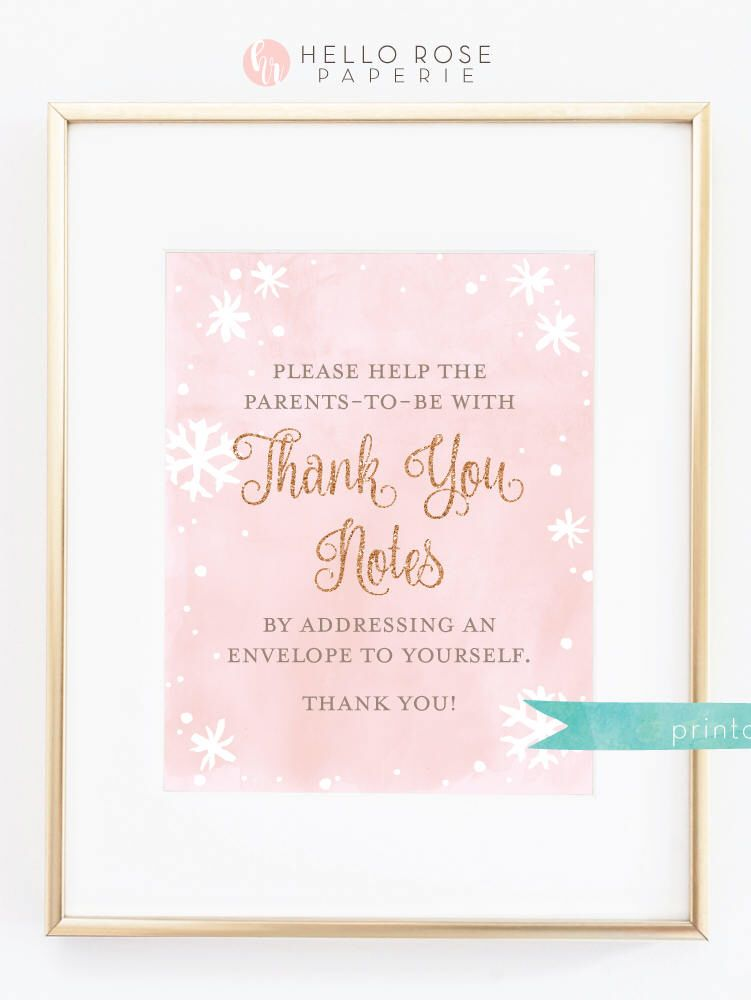 guess who bridal shower game printable%0A Thank You Notes Sign Printable  x     Baby its Cold Outside Baby Shower  Girl   Pink Watercolor and Gold