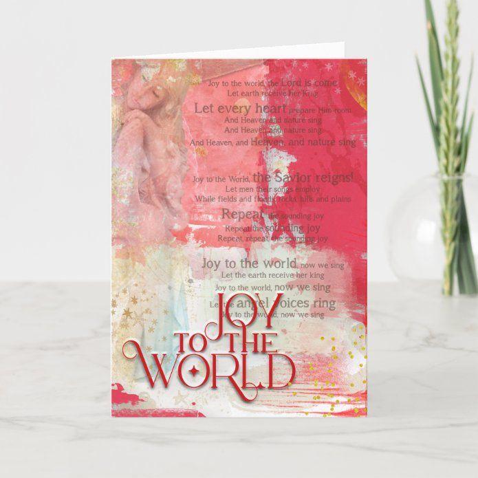 Joy To The World Christmas Carol Lyrics Angel Holiday Card | Zazzle.com in 2020 | Christmas ...