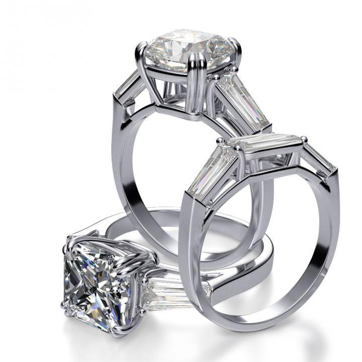 diamond wedding invitations%0A Natural Baguette Side Stones Diamond Engagement Ring