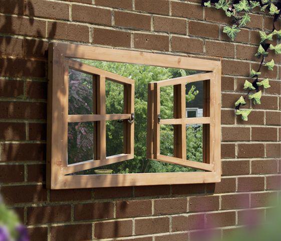 double window illusion garden mirror outdoor perspective frame, Garten ideen
