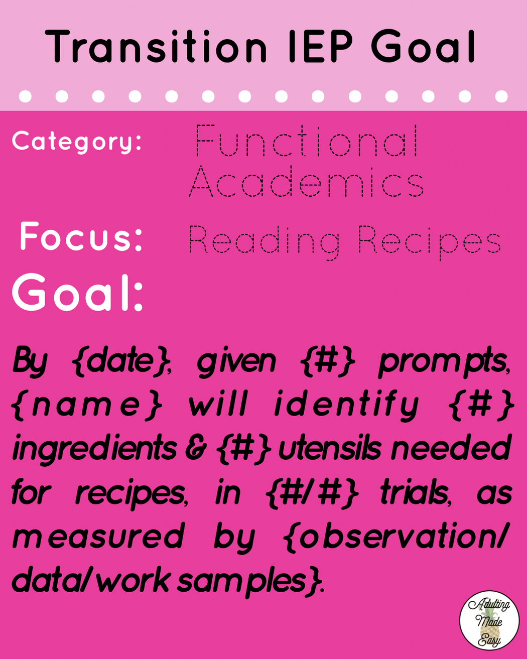 Adult Transition Iep Goals Ideas In The Area Of Functional