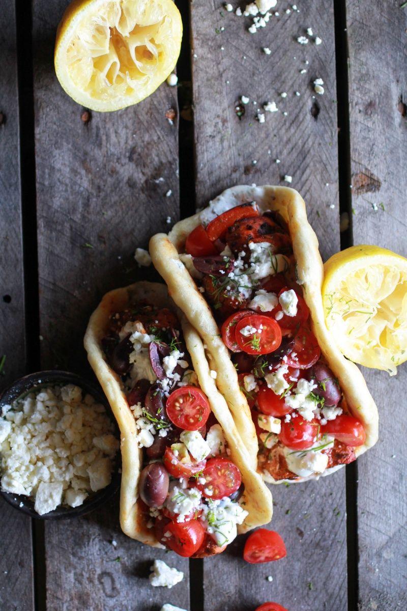 Greek salmon souvlaki gyros with tzatziki | Half Baked Harvest