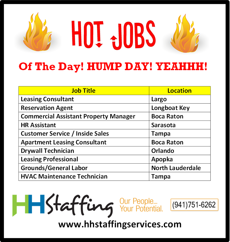 Hey Check Out Our Hump Day Hot Jobs Do You Feel Like You Would