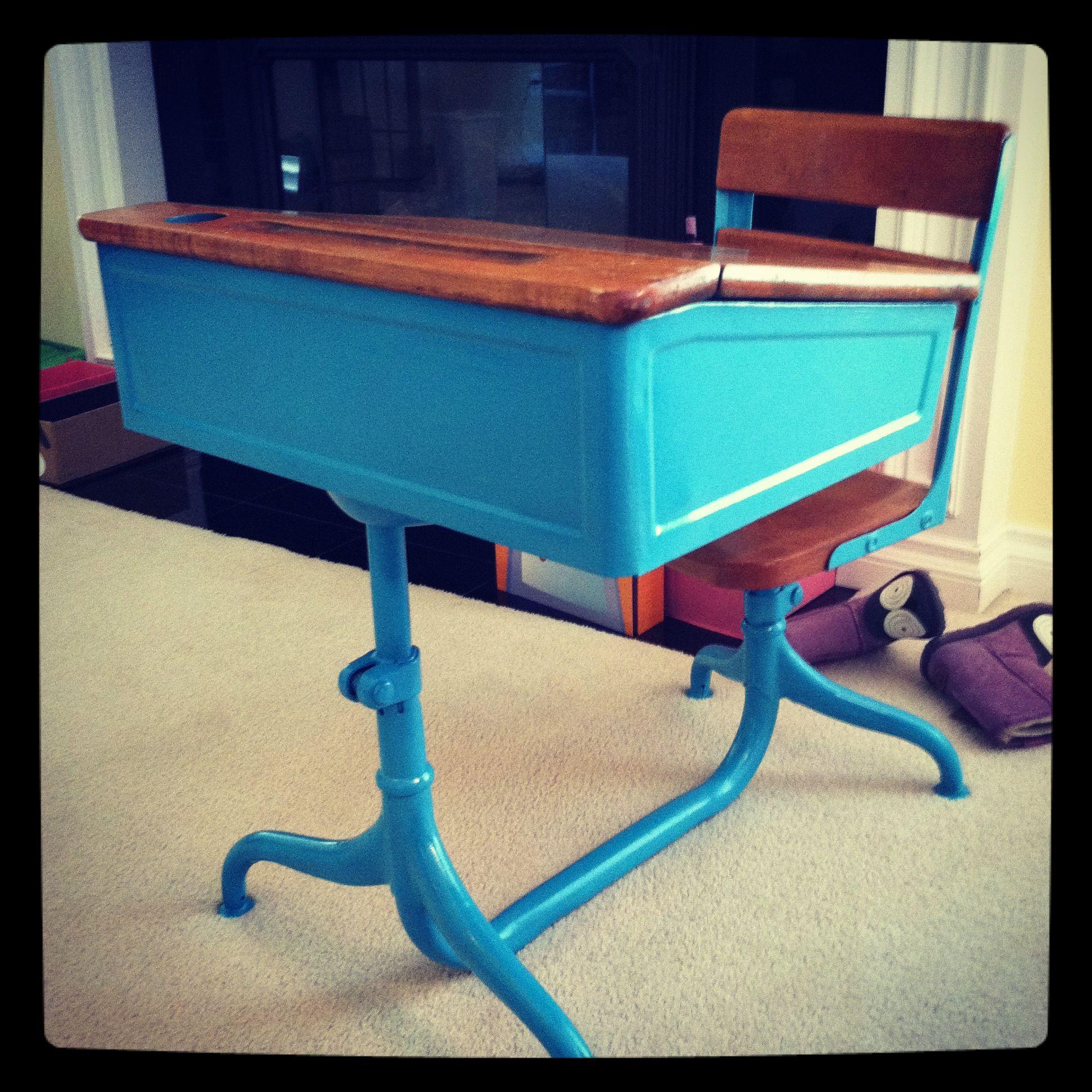 spray painted vintage school desk playroom painted school desks rh pinterest com