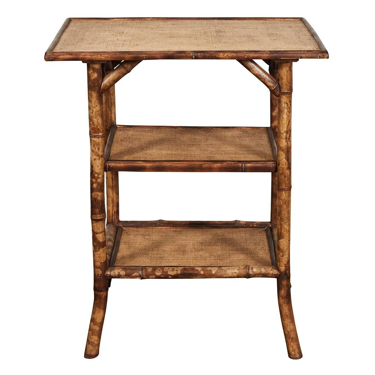 English Victorian Tiger Bamboo Table Vintage Side Table Side