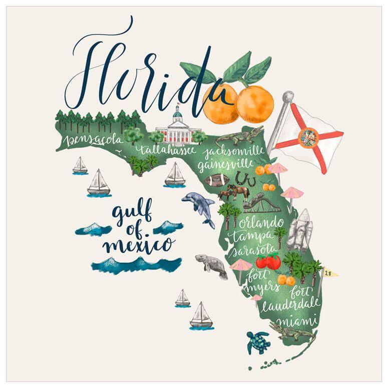 State Map Florida Wall Art Wall Art Art Giclee Art Print
