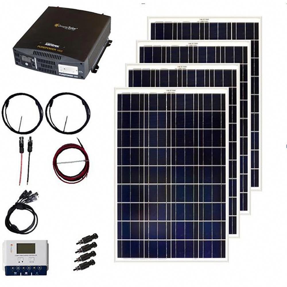 Grape Solar 400 Watt Off Grid Solar Panel Kit Gs 400 Kit The Home Depot Solar Panel Kits Off Grid Solar Panels Solar Panels