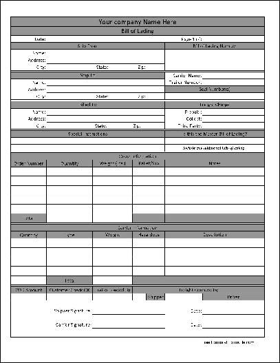 Printable Sample Bill Of Lading Pdf Form | Real Estate Forms Word