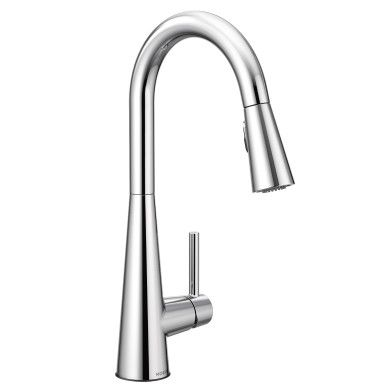 sleek chrome one handle high arc pulldown kitchen faucet 7864 rh pinterest com