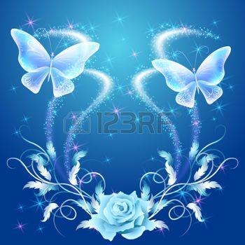 feu d artifice FLEUR Papillons qui volent transparentes avec ornement  argenté, rose et brillant feu d\u0026