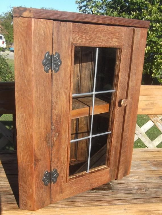 rustic oak barnwood corner cabinet with leaded glass door for rh pinterest ca