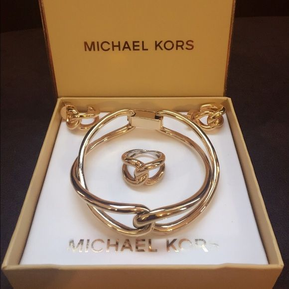 lower price with new images of sale online Michael Kors bracelet,earrings,ring sets gold Authentic ...