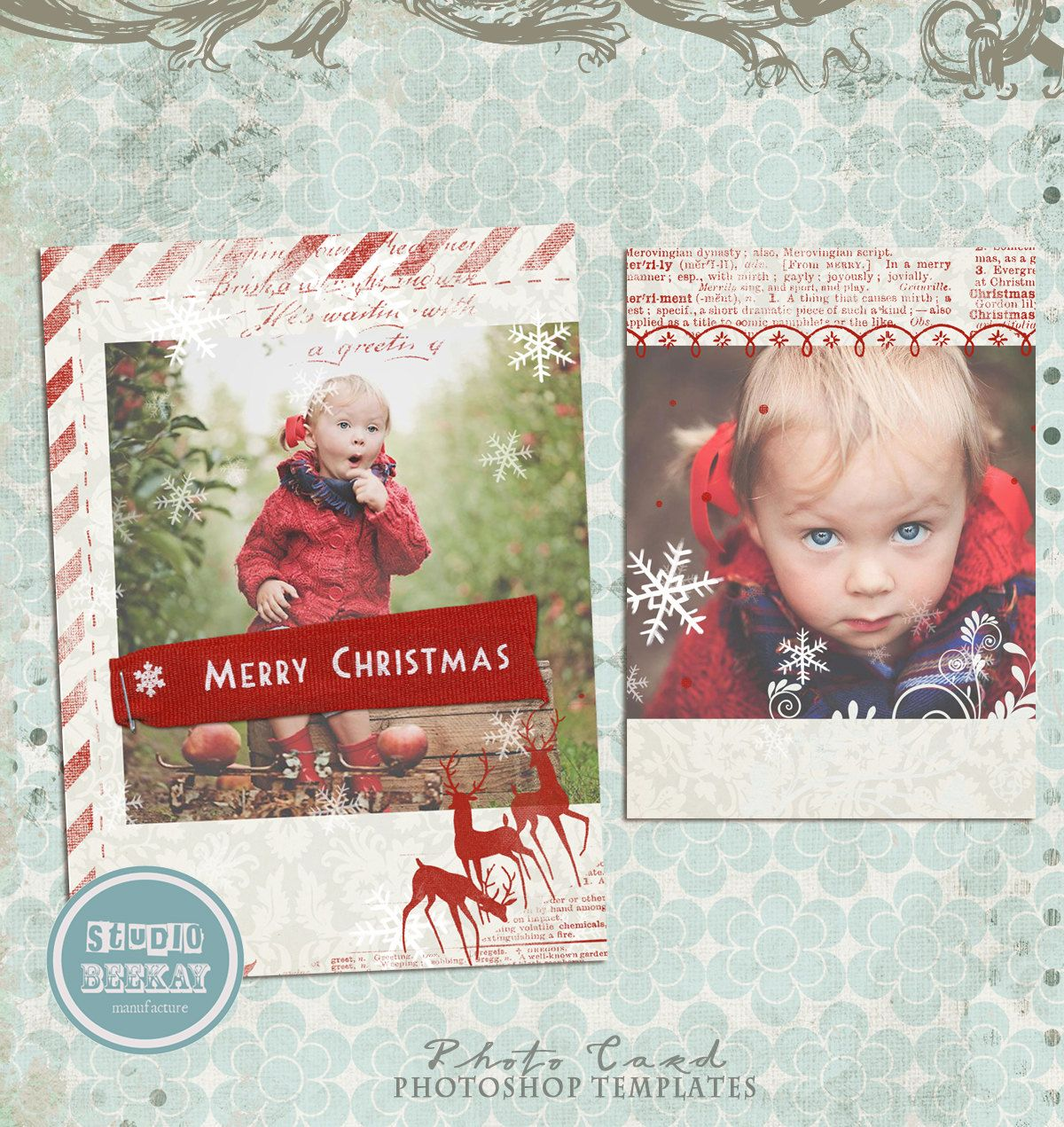 Instand Download Christmas Photo Card Photoshop Christmas Card