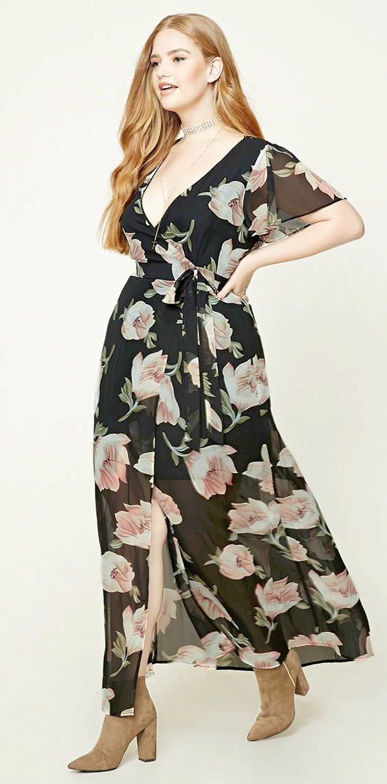 Plus Size Mock Wrap Maxi Dress Maxi Dress Maxi Wrap Dress Floral Maxi Dress
