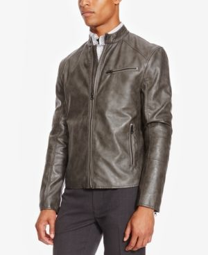 Kenneth Cole REACTION Mens Faux-Leather Moto Jacket