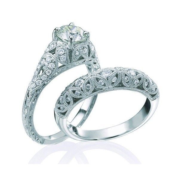 Delicieux 1 Carat Vintage Round Diamond Wedding Ring Set For Her In White Gold