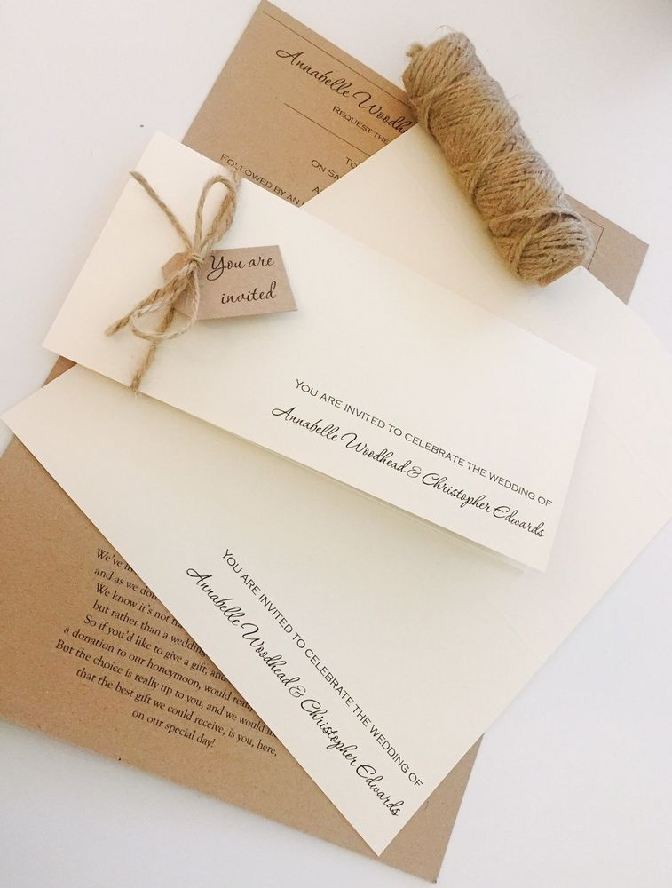 invitation wedding wording gifts%0A Which contains all the personalised card  envelope and twine components  that you need to make    wallet invitations  Invite slots inside and wish  card is