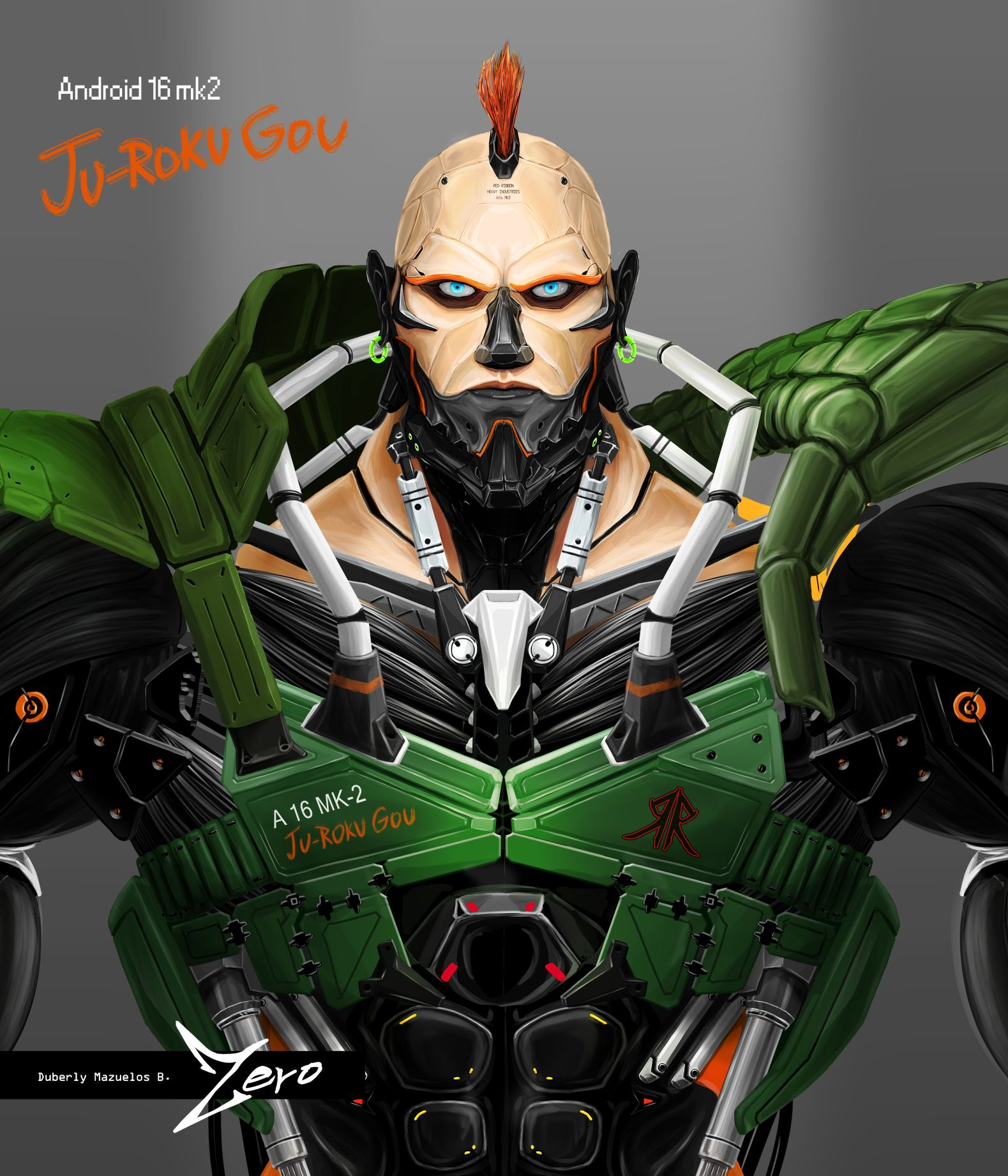 Android 16 from Dragon Ball Z redesign | My Digital Art ...
